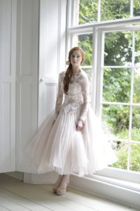 Unique tea-length wedding dresses with keyhole back in Stratford-Upon-Avon, England