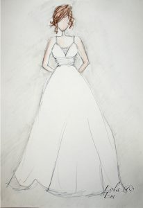 Strappy, V-neck, A-line wedding dress sketch from bridal designer from Warwickshire - Lola and Em
