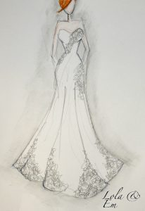 Sketch of a bespoke tailored wedding dress available from Boho Bride in shop in Stratford Upon Avon