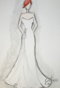 Sketch of a bespoke tailored wedding dress in Stratford Upon Avon