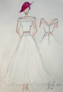 Sketch of a bespoke tailored wedding dress in Warwickshire