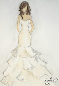 Lola and Em wedding dress design. Sketch is of a fitted wedding dress that flares out into a layered skirt