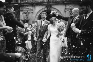 Black and white wedding photography at outdoor UK wedding ceremony