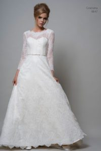 Sleeved lace Louise Bentley wedding dress with belt