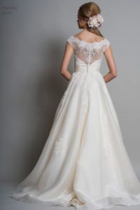 Louise Bentley wedding dress with bateau neckline and sheer lace back