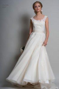 Satin wedding dress at Boho Bride boutique in Stratford Upon Avon