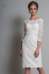 Sleeved lace bridal gown in Warwickshire