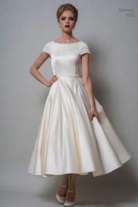 T-length designer wedding dress by Louise Bentley at Boho Bride boutique wedding dress shop in Stratford, Warwickshire