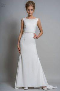 Louise Bentley wedding dress with bateau neckline and belt at Warwickshire wedding dress shop