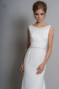 Louise Bentley wedding dress with bateau neckline and belt
