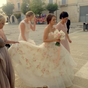 Floral summer wedding dress with pink rose print