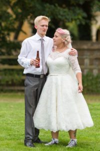 Alternative bride at wedding in Stratford-Upon-Avon