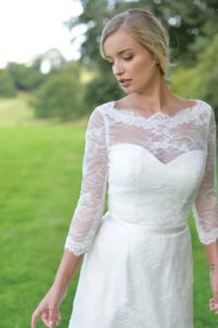 Designer sleeved bolero top by Ivory and Co at Boho Bride boutique in Stratford Upon Avon, Warwickshire