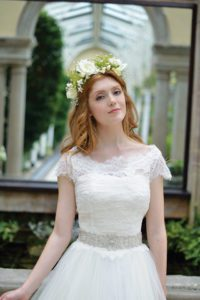 Designer sleeved wedding dress by Ivory and Co at Boho Bride boutique in Warwickshire