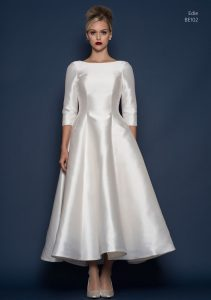 Satin wedding dress with sleeves in Stratford