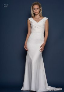 V-neck wedding dress by Louise Bentley