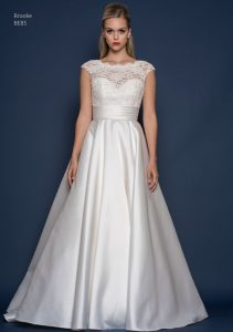 Satin and lace wedding dress with cap sleeves