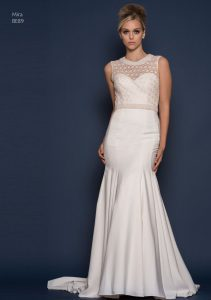 Lace wedding dress with fitted silhouette