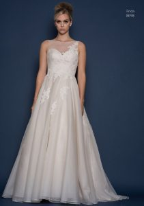 Lace wedding dress at bridal boutique in Stratford
