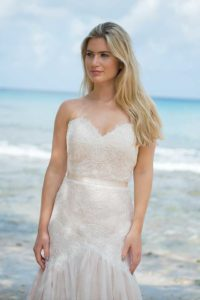 Alternative and unique wedding dresses with sweetheart neckline and an A-line silhouette in Warwickshire, England