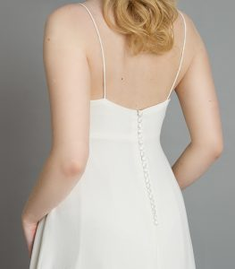 Boho style wedding dress with dainty straps and a floaty silhouette at wedding dress shop in Warwickshire