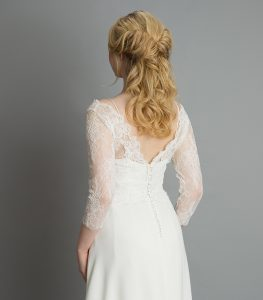 Boho Wedding Dress with open back and lace sleeves from wedding dress shop in Warwickshire