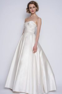 Strapless satin wedding dress by Loulou Bridal