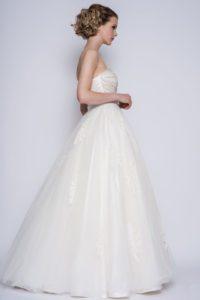 Strapless designer wedding dress with a sweetheart neckline at Boho Bride Boutique in Warwickshire