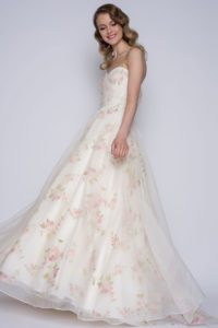Rose print wedding dress with a sweetheart neckline
