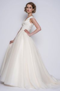 Long ivory wedding dress for traditional bride