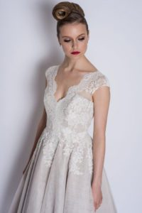 Lace bridal gowns with V-neckline