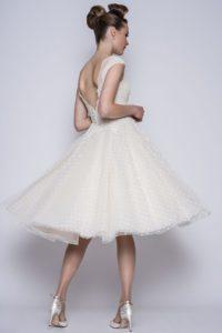 Short lace wedding dress by Loulou Bridal at Stratford bridal shop