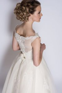Alternative, boho ivory wedding dress at Stratford Upon Avon wedding dress shop