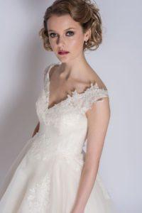 Long ivory wedding dress at Stratford Upon Avon