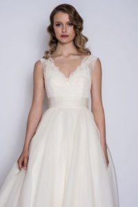 Designer wedding dress with empire waistline