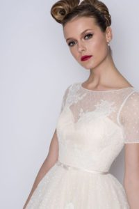 Short lace designer wedding dress by Loulou Bridal