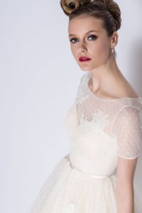 Short lace designer wedding dress with sleeves and belt