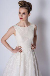 Short lace Loulou Bridal wedding dress at Stratford bridal shop