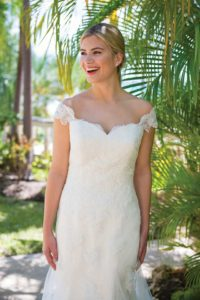 Alternative and unique summer wedding dresses with cap sleeves in Stratford-Upon-Avon, England