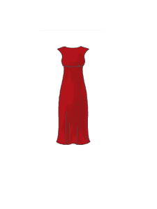 Bespoke mother of the bride red, fitted, flattering dress available at Boho Bride in Stratford Upon Avon