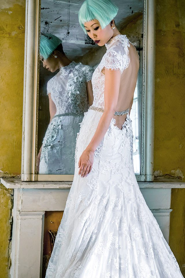 Unique lace designer wedding dress with open back with keyhole feature back in Warwickshire, UK