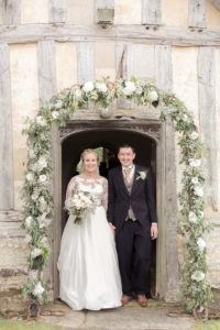 Bride and groom at their Warwickshire wedding