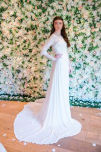 Boho style wedding dress in Warwickshire bridal boutique