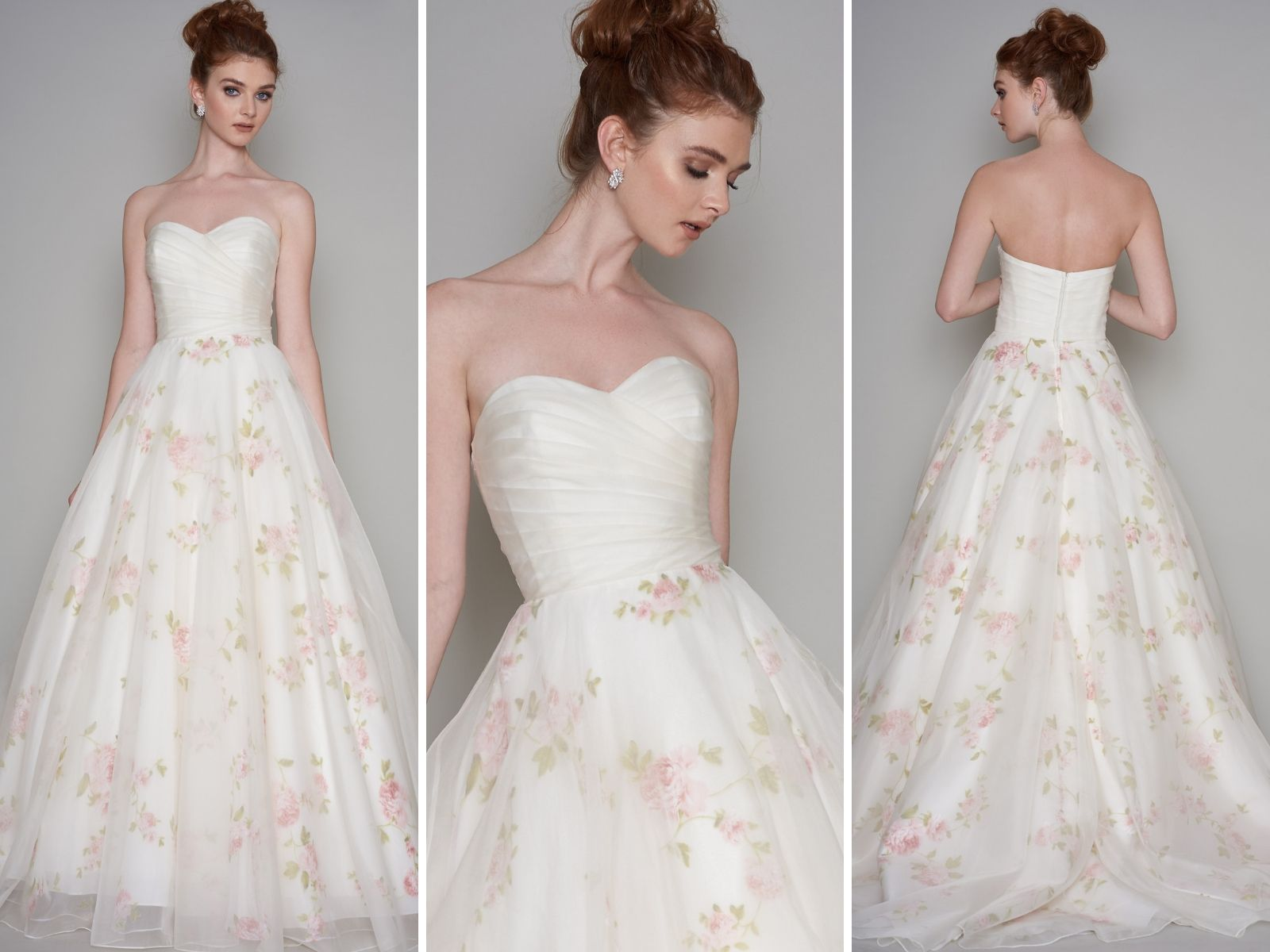 Rose print wedding dress for brides with an hourglass shape