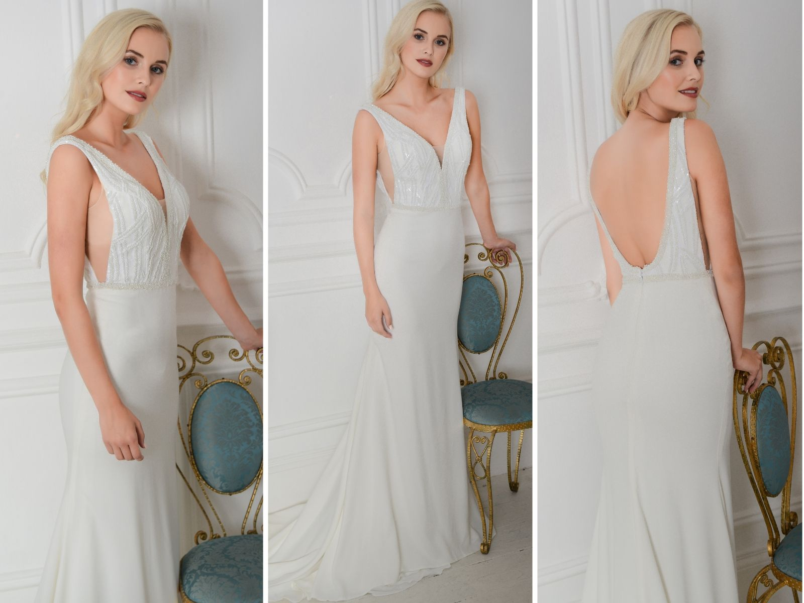 Backless bridal gown by Loulou Bride
