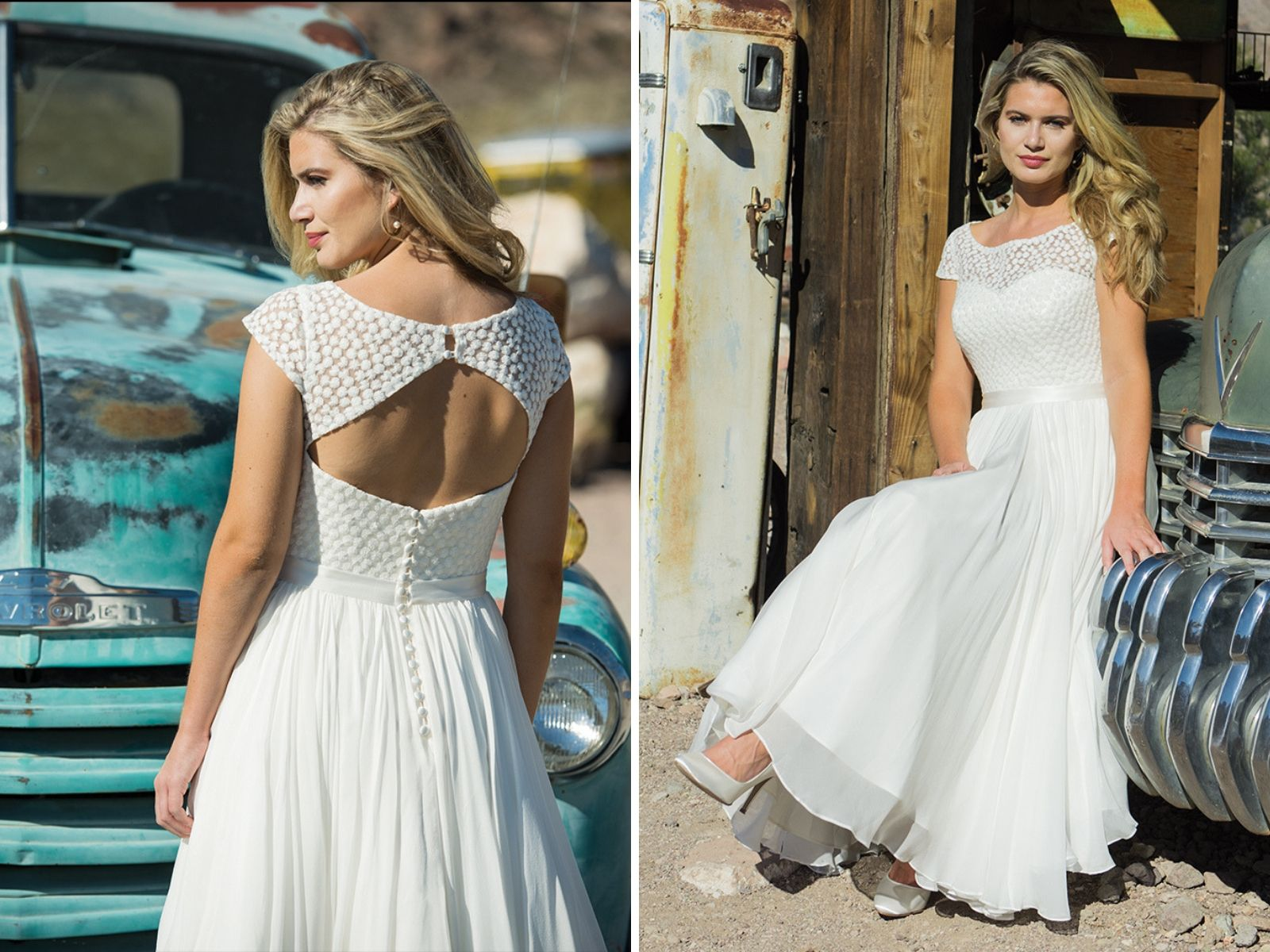 Bohemian wedding dress with keyhole back