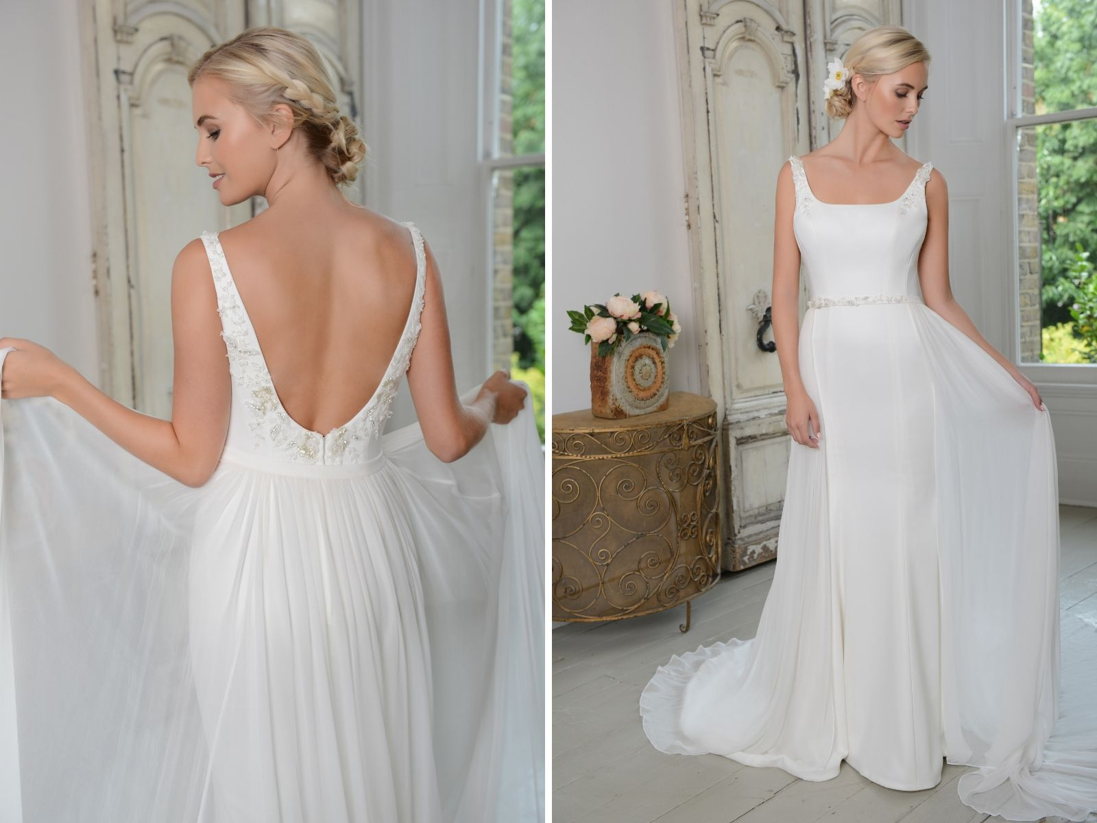 Light tulle wedding dress at Boho Bride boutique
