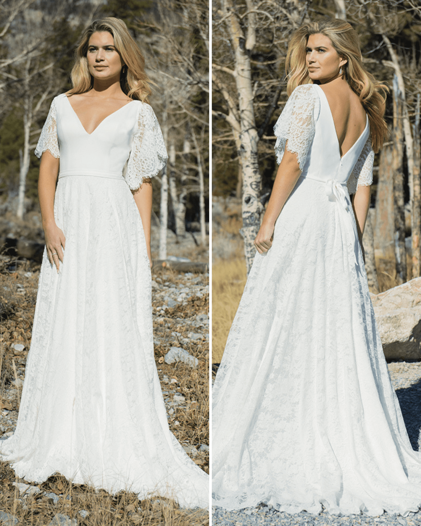 A-line wedding dress with V-neck and sleeves