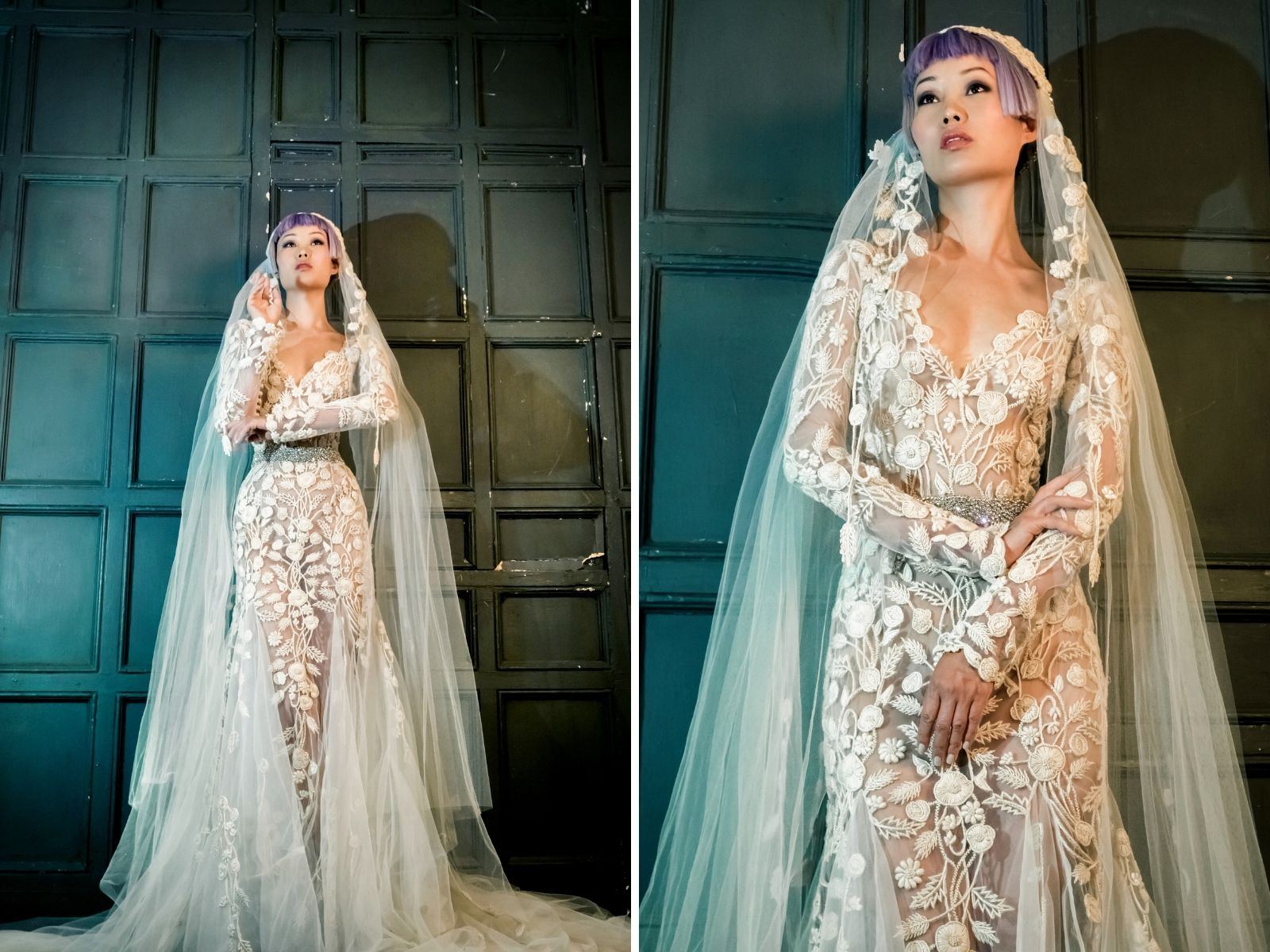 Elaborate sleeved summer wedding dresses by Bowen Dryden