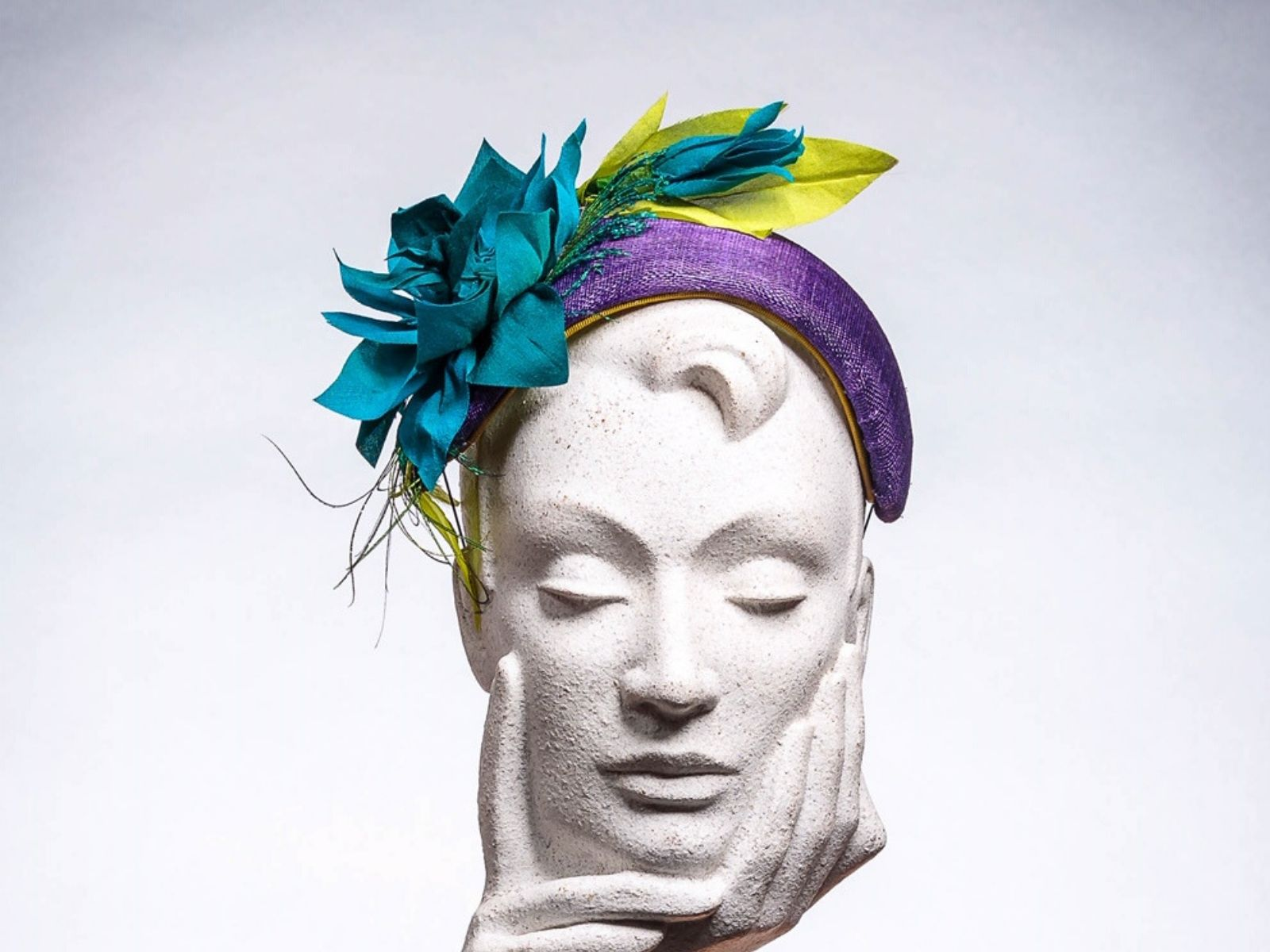 Blue wedding hat by Milliner Kerry Kernan